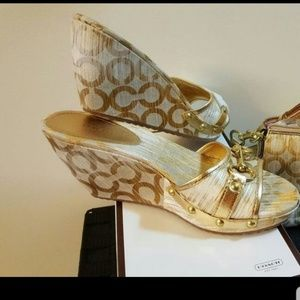 Authentic Coach Wedge Heel Sandals